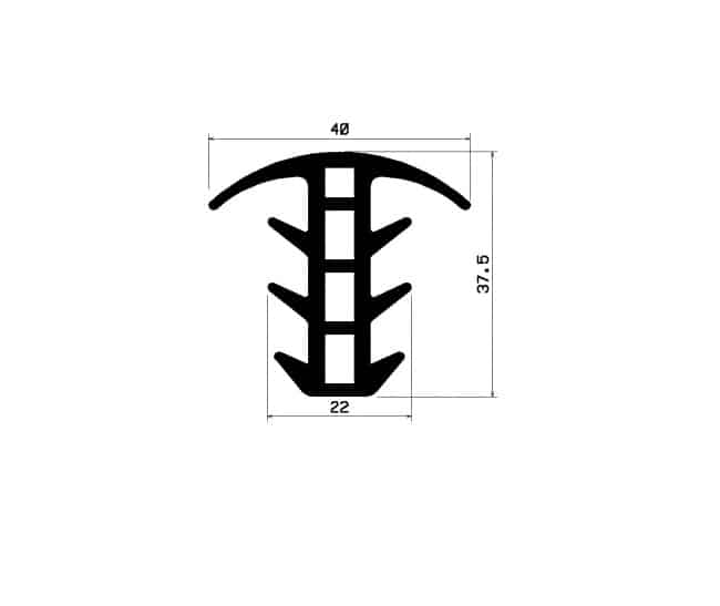 Profil typ T EPDM 012979