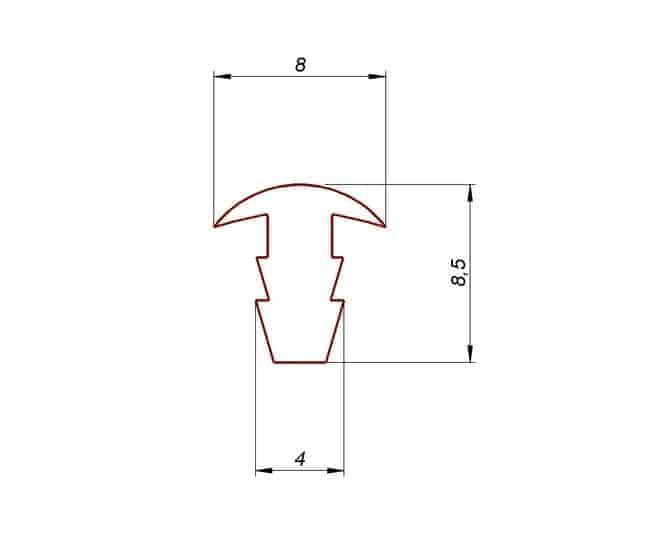 Profil gumowy wciskany typ T